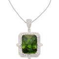 Estate Jewelry:Necklaces, Tourmaline, Diamond, White Gold Pendant-Necklace, Michael Christoff. ...