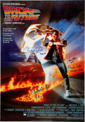 Movie/TV Memorabilia:Autographs and Signed Items, Back to the Future Cast Signed Movie Poster....