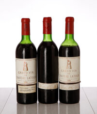 Chateau Latour 1966 Pauillac 1ts, 1vhs, 3hs, 1ms, 6bsl, 2 missing labels, 2 capsules cut to inspect cork Bottle (6)