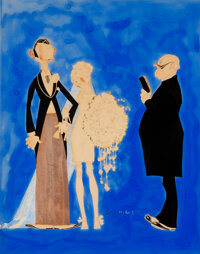 John Held Jr. (American, 1889-1958) The Wedding, Life Magazine Radio Number cover, November 25, 1926 Gouache and ink o...