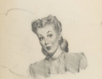 Gil Elvgren (American, 1914-1980) The Girl Next Door -- She's One Pretty Young Lady, preliminary advertisement<...