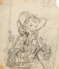 Works on Paper, Gil Elvgren (American, 1914-1980). One Smokin-Hot Babe, preliminary cigarette advertisement sketch, circa 1946. Charcoal...