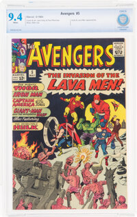 The Avengers #5 (Marvel, 1964) CBCS NM 9.4 White pages