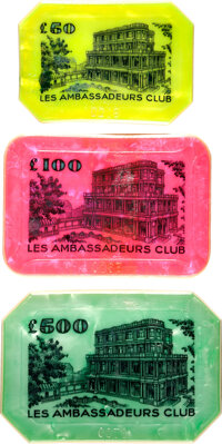 "Dr. No (United Artists, 1962). Fine/Very Fine. Casino Plaques (3) from Le Cercle (3.5"" X 2.25,"" 4"" X 3,&q..."