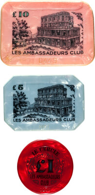 "Dr. No (United Artists, 1962). Very Fine. Casino Plaques (2) from Le Cercle (2.5"" X 1.75"" & 3"" X 2&qu..."