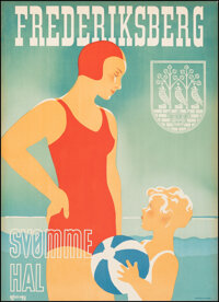 "Frederiksberg Svomme Hal (1938). Very Fine on Linen. Danish Travel Poster (24.25"" X 33.5"") Thor Bogelund Artwo..."