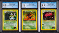Memorabilia:Trading Cards, Pokémon Team Rocket and Gym Heroes Set Trading Cards Group of 3 (Wizards of the Coast, 2000) CGC Graded....
