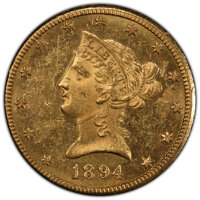 1894-O $10 MS60 Prooflike PCGS. PCGS Population: (0/0 and 0/0+). NGC Census: (3/7 and 0/0+). MS60. Mintage 107,500. ...(...