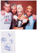 """Music Memorabilia:Autographs and Signed Items, No Doubt Signed Card. A 4"""" x 6"""" index card signed ..."""