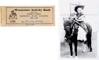 Buddy Holly Signed Westerner Activity Book (mid-1950s) With Childhood Photo