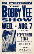 Music Memorabilia:Posters, Bobby Vee 1963 Peppermint Stick Lounge Concert Poster from His Archives....