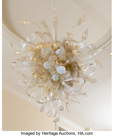 Dale Chihuly (American, b. 1941) Philipps Clear and Gold Platypus Chandelier, 2005 Glass 64 x 54 x 55 inches (162.6 x...