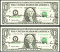 Mary Ellen Withrow and Robert E. Rubin Dual Courtesy Autographed Fr. 1922-F* $1 1995 Federal Reserve Star Notes. Two Con...