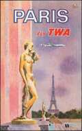 """Movie Posters:Miscellaneous, Fly TWA to Paris (Trans World Airlines, c. 1960). Rolled, Very Fine. Poster (25"""" X 39.75"""") David Klein Artwork. Miscellaneou..."""