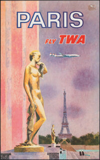 """Fly TWA to Paris (Trans World Airlines, c. 1960). Rolled, Very Fine. Poster (25"""" X 39.75"""") David Klein Artwork..."""