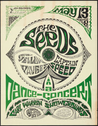 """The Seeds in a Dance-Concert (Jim Salzer's Lower Productions, 1967). Rolled, Very Fine-. Concert Poster (17.5"""" X 22..."""