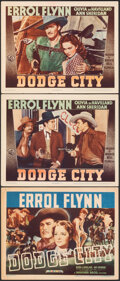 "Movie Posters:Western, Dodge City (Warner Bros., R-1940s). Fine/Very Fine. Title Lobby Card & Lobby Cards (2) (11"" X 14""). Western.. ..."