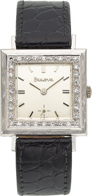 Bulova, 14k White Gold Diamond Bezel Watch, circa 1960