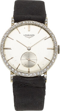 Longines, 18k White Gold & Diamond Watch, circa 1960