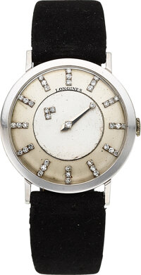"Longines, 14k White Gold ""Mystery"" Dial Watch, circa 1950"