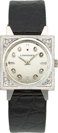 Timepieces:Wristwatch, Longines, New-Old Stock 14k White Gold And Diamond Watch, circa 1960's. ...