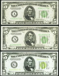 Fr. 1955-G $5 1934 Light Green Seal Federal Reserve Note. Choice Crisp Uncirculated; Fr. 1956-A $5 1934 Dark Green Seal...