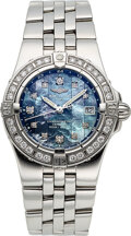 Timepieces:Wristwatch, Breitling, A71340 Lady's Steel, Diamond & Blue Mother-of-P...