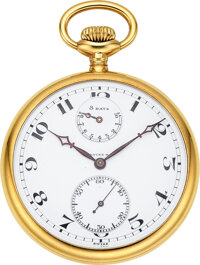 Agassiz W. Co., Rare 18k Gold Pocket Watch With 8 Days Wind Indicator, circa 1905