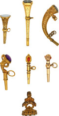 Timepieces:Other , Collection Of Six Antique Gold Winding Keys & A Gilt Intaglio Fob, late 18th Century. ...
