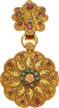 Timepieces:Pocket (pre 1900) , Swiss, Multicolor Gold & Gem Stone High Relief Repoussé Watch, circa 1850. ...