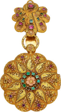 Swiss, Multicolor Gold & Gem Stone High Relief Repoussé Watch, circa 1850