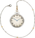 "Timepieces:Pocket (post 1900), Paul Ditisheim Ultra-Thin Platinum ""Opera Watch"" For Tiffany & Co., Pearl Chain. ..."