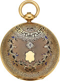 Timepieces:Pocket (pre 1900) , Swiss, Enamel & Gold Victorian Hunters Case Watch, circa 1860. ...