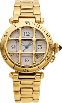 Cartier, 18k Gold Pasha With Grille, Ref. 1987, circa 1990's