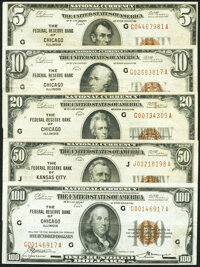 Fr. 1850-G $5 1929 Federal Reserve Bank Note. Very Fine; Fr. 1860-G $10 1929 Federal Reserve Bank Note. Very Fi