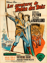 "The Adventures of Robin Hood (Warner Bros., R-1950s). Folded, Very Fine-. French Grande (47.25"" X 63"")"