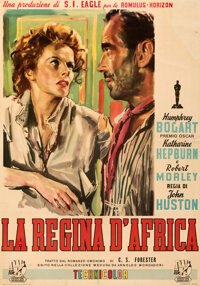 "The African Queen (Distribuzione Associata Internationale, 1952). Fine- on Linen. Italian 2 - Fogli (37.5"" X 53.5&q..."