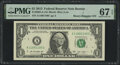 Binary-Repeater Serial Number 11001100 Fr. 3002-A $1 2013 Federal Reserve Note. PMG Superb Gem Unc 67 EPQ
