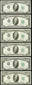 Fr. 2010-B; E; F; H; K; L $10 1950 Wide Federal Reserve Notes. Choice Crisp Uncirculated. ... (Total: 6 notes)