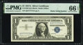 Small Size:Silver Certificates, Radar Serial Number 57777775 Fr. 1620 $1 1957A Silver Certificate. PMG Gem Uncirculated 66 EPQ.. ...