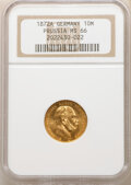 German States: Prussia. Wilhelm I gold 10 Mark 1872-A MS66 NGC