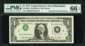 Inverted Overprint Error Fr. 1908-C $1 1974 Federal Reserve Note. PMG Gem Uncirculated 66 EPQ