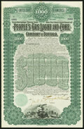 People's Gas Light and Coke Company of Buffalo $1,000 Bond Jan. 1, 1898 Very Fine