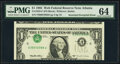 Inverted Overprint Error Fr. 1923-F $1 1995 Web Federal Reserve Note. PMG Choice Uncirculated 64, block F-D run 15 plate...