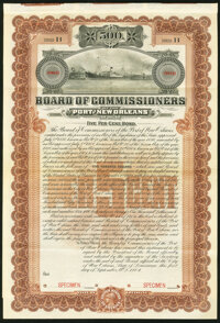 New Orleans, LA- Board of Commissioners of the Port of New Orleans $500 Bond Sept. 1, 1904 Specimen Very Fine, 4 POCs...