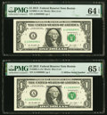Fancy Serial Numbers 10999999 and 11000000 Fr. 3002-A $1 2013 Federal Reserve Notes. PMG Graded Choice Uncirculated 64 E...