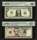 Small Size:Federal Reserve Notes, Binary-Radar Serial Number 11000011 Fr. 3002-A $1 2013 Federal Reserve Note. PMG Gem Uncirculated 66 EPQ;. Radar Serial Nu... (Total: 2 notes)