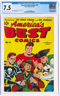 America's Best Comics #19 (Nedor Publications, 1946) CGC VF- 7.5 Off-white to white pages