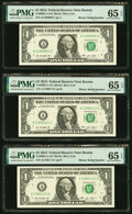 Small Size:Federal Reserve Notes, Binary Serial Numbers 11000001, 11000111, and 11001111 Fr. 3002-A $1 2013 Federal Reserve Notes. PMG Gem Uncirculated 65 EPQ.... (Total: 3 notes)