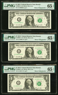 Binary Serial Numbers 11000001, 11000111, and 11001111 Fr. 3002-A $1 2013 Federal Reserve Notes. PMG Gem Uncirculated 65...